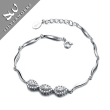 Small moq China Factory Bracelet Sterling silver 9.25 Jewelry with Zircon Stone