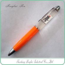 OEM 3d floater PVC LOGO promotional liquid floating logo ball pen