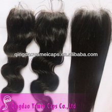 Alibaba express new products 2015 china wholesale body wave brazilian human hair lace top closure (ym-w-086)