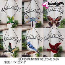 home decoration glass painting welcome sign suncatcher/glass sun catcher