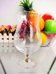 Fancy handmade thin goblet drinking juice/water transparant glass 13OZ/380ml (glass factory,EU FDA SGS.GB passed)