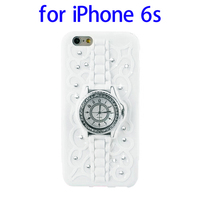 Diamond Encrusted Watch Pattern Silicone Phone Case for iPhone 6s