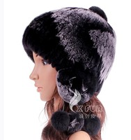 CX-C-153F Women Fashion Rex Rabbit Fur Knitted Winter Cap