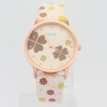 Vogue colourful flower custom watches for ladies,hot selling women leather watches