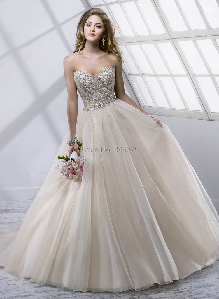 Buy champagne silver bling crystal ruched for Champagne ball gown wedding dresses