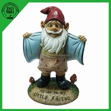"9.5"" Handmade 2015 garden weasel gnome statue"