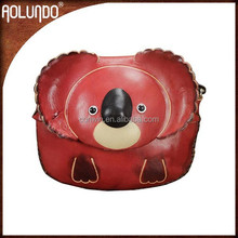 Fashion cute craft vegetable tanning small fancy ladies animal leather coin purse by handmade