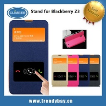 Gold sand series leather stand flip case for blackberry z3 with double windows
