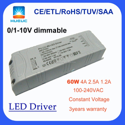 0-10v dimming led driver 60w 4000ma 2500ma 1200ma constant voltage led drive