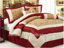 king cream and red colored bedroom adult being suede fabric wedding embroidery patchwork quilts and comforter
