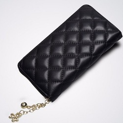 New Womens Synthetic Leather Wallet Clutch Purse Quilt Weave Black