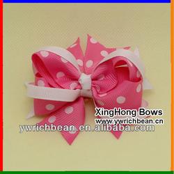 Hot-sales handmade polk dot 4 inch basical hair bow ! kids polk dot ribbon hair bow !good quality fashion hair bows CB-2673