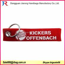 China promotional red felt fabric keyrings