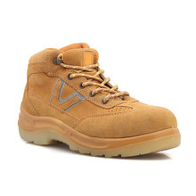 Yellow suede leather Rubber sole unisex steel to outdoor shoes