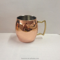 New promotion stainless steel copper mug,Russian Standard Moscow Mule Copper cup, Copper plating stainless steel