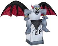 DJ-TL-017 6 ft Inflatable Gargoyle Wings Dragon Bats Tombstone Statue Halloween Yard Prop Light