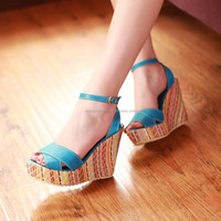China Factory Wholesale Colorful Wedge Women Girls Summer Sandals