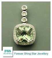 sterling silver jewelry / Green amethyst pendant