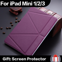 New Luxury ultrathin PU Leather Case For iPad mini 1 2 3 Smart Magnetic Wake Sleep Cover TPU Back Adjustable Stand In Stock