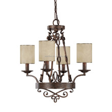 fabric light shades rustic Vintage led 4-light chandelier ceiling lamp