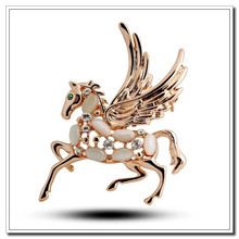 High-grade Clear Austria Crystal and Opal Stone Flying Horse Brooches, Fashion Shawl Brooches, In Stock Retail
