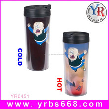 2015 Gift Items Custom Printed Hot Color Changing 16OZ BPA Free Double Wall Plastic Cup