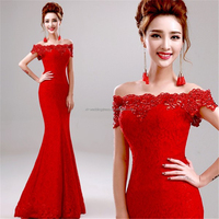 Fashion Strapless Lace Appliques Beading dresses for boat evening parties Party Gown FXL-790