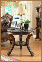 New design American style living room glass top wooden hand carved round end table