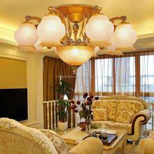 Handcrafted iron Chandelier, grand, multiple arms and glass lampshade