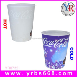 2015 China new products temperature sensitive color changing cup color plastic changing cup