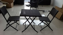3 pcs folding rattan table and chair set