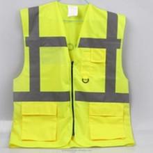 2015 yellow Safety Workwear reflective Work vest design multi pocket vest work tool vest