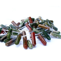 SB6420 Wholesale poppy jasper point bullet prism beads,stone pencil beads