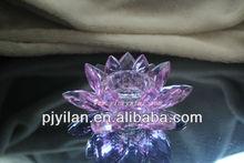 artificial de vidrio de cristal de flores de loto para centros de mesa de la boda