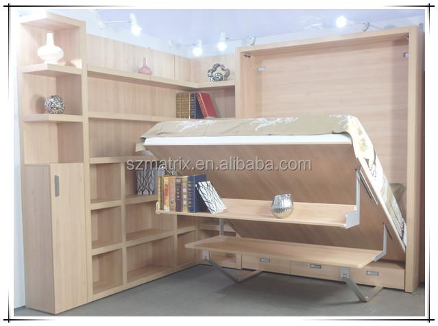 Murphy bed opklapbed murphy muur bed met boekenkast en for Bed in muur
