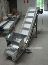 SS304 food belt conveyor meterial handing machine with big hopper