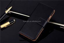 Factory Price real leather genuine real cow leather flip cover case for iphone 6 / 6 plus best service