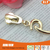 Fashion accessory custom metal zipper slider decorative zipper pull hot sale