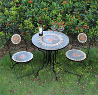 patio mosaic table and chair bistro set garden furniture