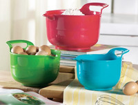 3 PCS Best Quality Colorful Kitchen Utensil Platic Mixing Bowl with Handle Grip Eco-friendly Food Container Bowl Plastic Bowl