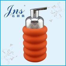 Rubber finshed orange ceramic wholesale soap dispenser