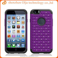 Paypal accepted Fashion for iphone 6 case bling 3 in 1 pc silicon