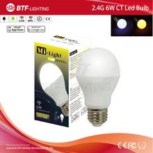 High lumen E27 6W CCT DUAL white led bulb light