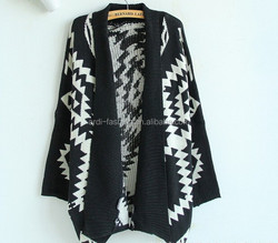 latest autumn winter heavy chunky poncho aztec knitted womens cardigan sweater