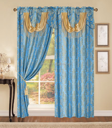 polyester yarn dyed jacquard window curtain with fashion valance