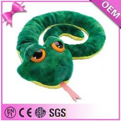 Wholesale cheap cute big eyes green stuffed animal snake, custom snake soft toy