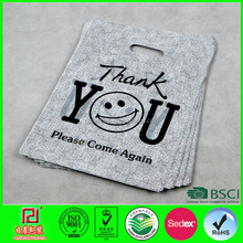 2015 customer design die cut thank you plastic bags with black point