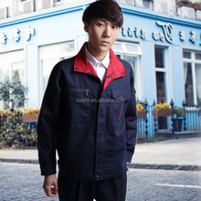 breathable navy blue and red work uniform