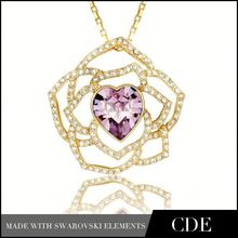 Online Store CDE Crystal Pendant Necklace Wholesale Gold Jewellery Designs Photos