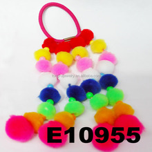 girls long fur ball elastic hair bands